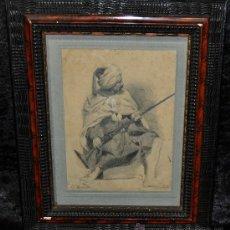 Arte: ANTONIO GARCÍA MENCÍA (MADRID, 1852 - 1915) DIBUJO A LAPIZ FIRMADO. PERSONAJE ORIENTALISTA. Lote 25724945