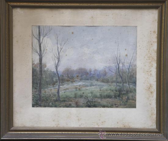 ROIG ENSEÑAT, ACUARELA SOBRE PAPEL, 43X33 CM. MARCO: 68X59 CM. ALGUNAS MANCHAS EN EL PAPEL (Arte - Acuarelas - Contemporáneas siglo XX)