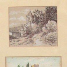 Arte: ROIG ENSEÑAT, 2 ACUARELAS ENMARCADAS. MARCO: 29X38 CM. TAMAÑO ACUARELAS: 14X11 CM.. Lote 24256726