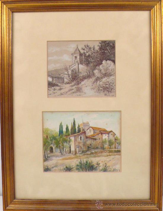 Arte: ROIG ENSEÑAT, 2 acuarelas enmarcadas. Marco: 29x38 cm. tamaño acuarelas: 14x11 cm. - Foto 6 - 24256726