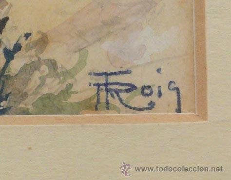 Arte: ROIG ENSEÑAT, 2 acuarelas enmarcadas. Marco: 29x38 cm. tamaño acuarelas: 14x11 cm. - Foto 3 - 24256726