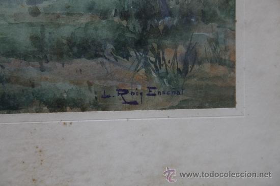 Arte: ROIG ENSEÑAT, acuarela sobre papel, 43x33 cm. marco: 68x59 cm. algunas manchas en el papel - Foto 3 - 24256009