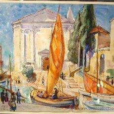 Arte: ISLA DE LOSINJ-CROACIA. ACUARELA S/ PAPEL. OLEGUER JUNYENT. 1932. Lote 27187153