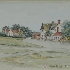 "Arte: ACUARELA. PAISAJE ""SUFFOLK"". FDO WALBERSWIK. C 1940.. Lote 24577878"