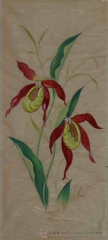 Arte: Pareja de acuarelas. Flores. Hübsch. f.m. C 1950 - Foto 2 - 24577299