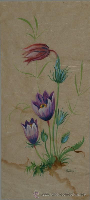 Arte: Pareja de acuarelas. Flores. Hübsch. f.m. C 1950 - Foto 3 - 24577299