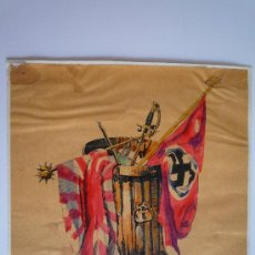 Arte: OBRA ORIGINAL CARTEL PROPAGANDA SEGUNDA GUERRA MUNDIAL ANTINAZI, CALIDAD. Lote 24598985