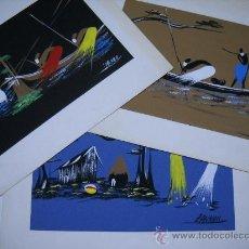 Art: LOTE 3 ACUARELAS ORIGINALES FIRMADAS POR ZANNOU.25X16 EN CARTULINA PEGADA SOBRE OTRA MAYOR. Lote 24737802