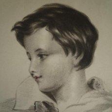 Arte: EXQUISITO RETRATO VICTORIANO DE UN NIÑO, GRAN CALIDAD, FIRMADO FANNY BELLAMY 1843.. Lote 24746573