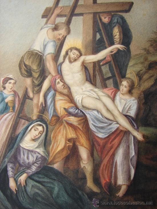 Arte: ACUARELA ANTIGUA. FIRMADA Y FECHADA. ADELA R. 1839. DESCENDIMIENTO - Foto 2 - 26270869
