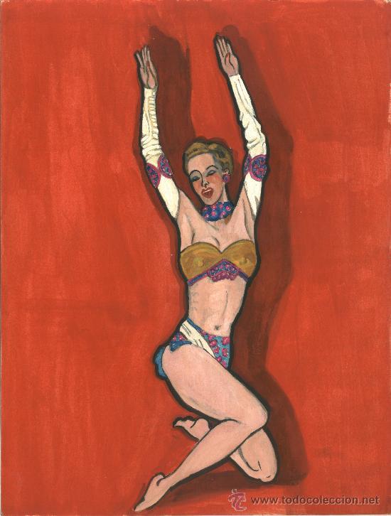 BURLESQUE (MUJER Y FONDO ROJO) (Arte - Acuarelas - Contemporáneas siglo XX)