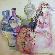 Arte: ÓSCAR ESTRUGA.ACUARELA ORIGINAL.. Lote 24959334