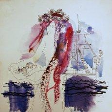 Arte: ÓSCAR ESTRUGA.ACUARELA ORIGINAL.. Lote 24959425
