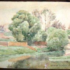 Arte: INTERESANTE ACUARELA - PAISAJE - NO FIRMADA - FINALES XIX/PRINCIPIOS DEL XX. Lote 26852555