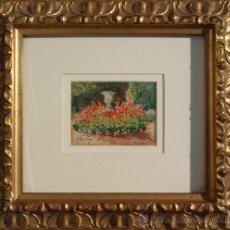 Arte: ANDRES LARRAGA - MEDIDA TOTAL: 31 X 34 CM - ACUARELA - JARDIN . Lote 26100561