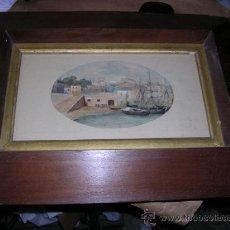 Arte: ACUARELA, PALAMOS GERONA,OCT. 1872, FIRMADO MOP. ENMARCADO DE EPOCA, ACUARELA 31X17 CM.CON MARCO 51. Lote 27508462