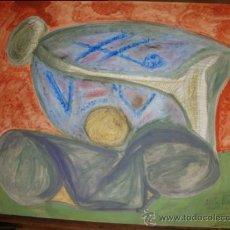 Arte: ARTISTICO DIBUJO REALIZADO A ACUARELA, BODEGON, FIRMADO ONTIVEROS, DEDICADO A ENRIQUE BARCELONA. Lote 27393340