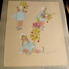 Arte: HOJA CON TRES BOCETOS / ILUSTRACIONES ORIGINALES A ACUARELA. FIRMADA.. Lote 27870400