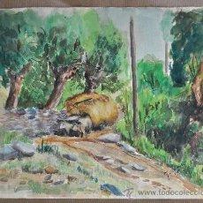 Arte: ACUARELA FIRMADA G. OLIVER O. ACUARELA FECHADA 1951 CERDAÑA.. Lote 28295458