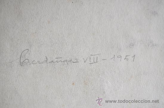 Arte: ACUARELA FIRMADA G. OLIVER O. ACUARELA FECHADA 1951 CERDAÑA. - Foto 5 - 28295458
