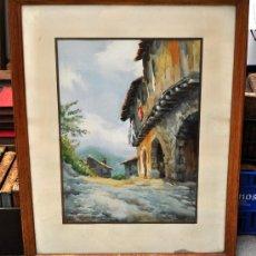 Arte: MONTSERRAT BAIXAS (1900-?) ACUARELA SOBRE PAPEL DE LOS AÑOS 40-50. PUEBLO PIRENAICO. Lote 28522430