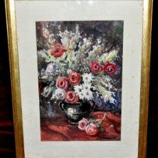 Arte: JOAQUIM MARSILLACH I CODONY (OLOT, GERONA 1905 - 1986) ACUARELA SOBRE PAPEL. BODEGÓN. Lote 29042661