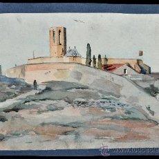 Arte: JOAN CARDONA I LLADÓS (BARCELONA, 1877 - 1957) ACUARELA SOBRE PAPEL. PAISAJE CON PERSONAJE FIRMADO. Lote 29045853