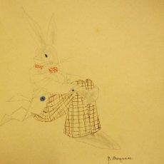 Kunst - CURIOSO DIBUJO A LÁPIZ Y ACUARELA DE B.LLONGUERES. LA LIEBRE DE MARZO,C.1934 - 29351281