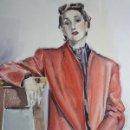 Arte: BRILLANTE RETRATO DE MUJER CON VIBRANTES COLORES 1950'S LADIES FASHION. CALIDAD. Lote 29379970