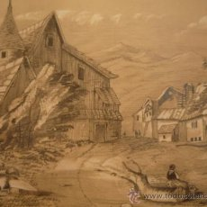 Arte: BRILLANTE PAISAJE BUCÓLICO DE MEDIDADOS DEL SIGLO XIX 1863, FIRMADO W. PERREY, P.G. SCHOOL. Lote 29624811
