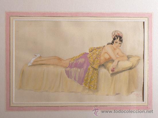 ACUARELA ESPAÑOLA FIRMADA A.RIBA. BARCELONA. (Arte - Acuarelas - Contemporáneas siglo XX)