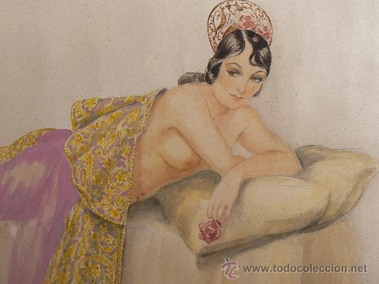 Arte: ACUARELA ESPAÑOLA FIRMADA A.RIBA. BARCELONA. - Foto 2 - 203924487
