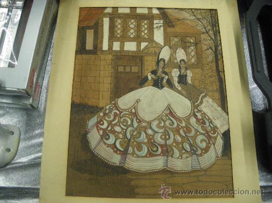 DIBUJO Y OLEO CARTULINA PINTURA ANTIGUA FIRMADO V.B. MEDIDA 29 X 22 CM. SEÑORAS VESTIDO ÉPOCA (Arte - Acuarelas - Modernas siglo XIX)