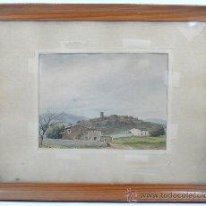 Arte: BLASCO VILÁ, VISTA DE PUEBLO, CATALUÑA. ACUARELA SOBRE PAPEL 18X24 CM. MARCO: 45X35 CM.. Lote 30206124