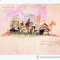 Arte: OLIVA MICHELENAS, CIRILO JOSÉ (CUBA 1892-1967).- ACUARELA, THE LITLE CHURCH EN N.YORK 1947 -17 X 2. Lote 30242348