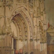 Arte: MAGISTRAL ACUARELA IMPRESIONISTA, ESCUELA FRANCESA, SIGLO XIX C.1870, FIRMADA, CAUDEBEC, FRANCE. Lote 30711347