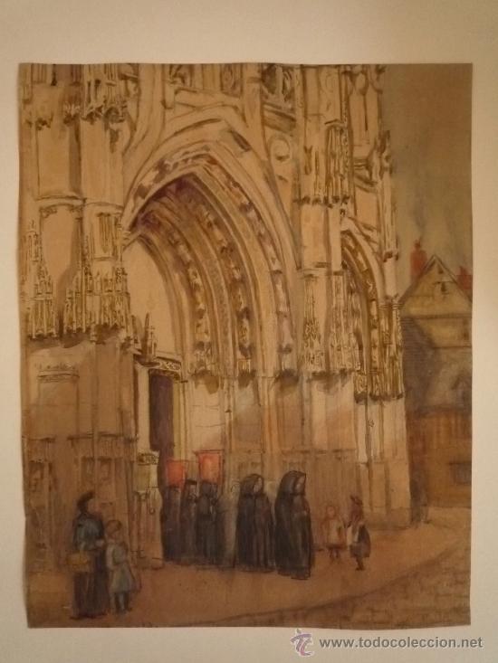 Arte: Magistral acuarela impresionista, escuela francesa, siglo XIX c.1870, firmada, CAUDEBEC, FRANCE - Foto 9 - 30711347
