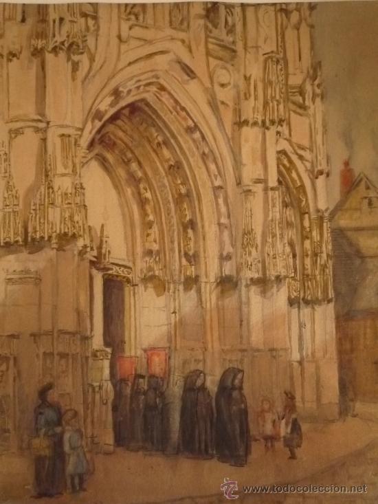 Arte: Magistral acuarela impresionista, escuela francesa, siglo XIX c.1870, firmada, CAUDEBEC, FRANCE - Foto 3 - 30711347