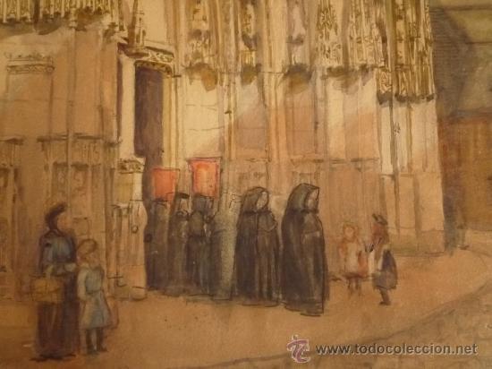 Arte: Magistral acuarela impresionista, escuela francesa, siglo XIX c.1870, firmada, CAUDEBEC, FRANCE - Foto 8 - 30711347