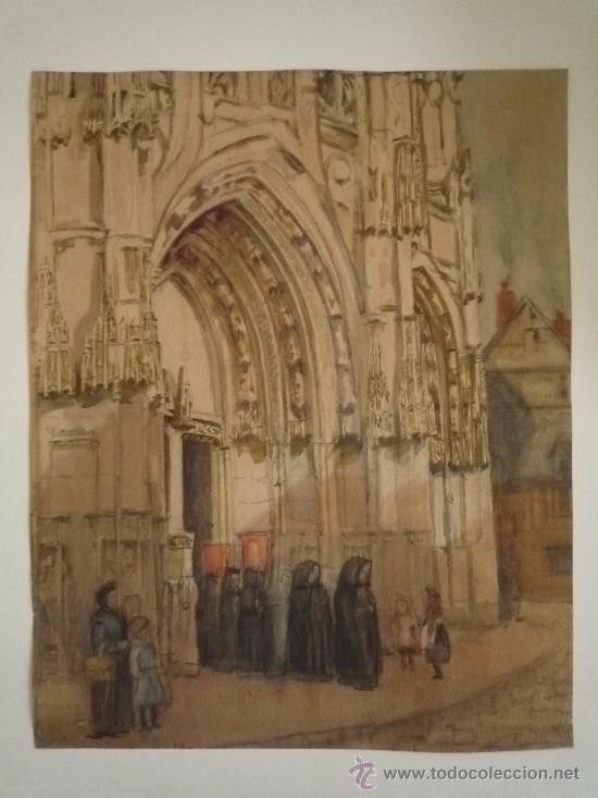 Arte: Magistral acuarela impresionista, escuela francesa, siglo XIX c.1870, firmada, CAUDEBEC, FRANCE - Foto 2 - 30711347