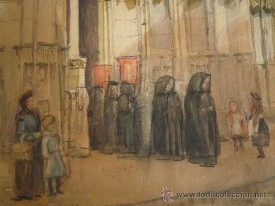 Arte: Magistral acuarela impresionista, escuela francesa, siglo XIX c.1870, firmada, CAUDEBEC, FRANCE - Foto 4 - 30711347