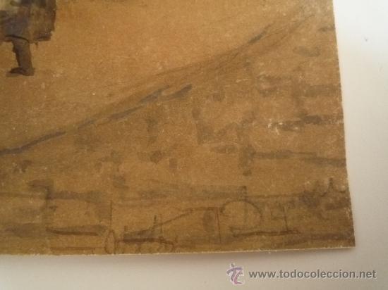 Arte: Magistral acuarela impresionista, escuela francesa, siglo XIX c.1870, firmada, CAUDEBEC, FRANCE - Foto 6 - 30711347