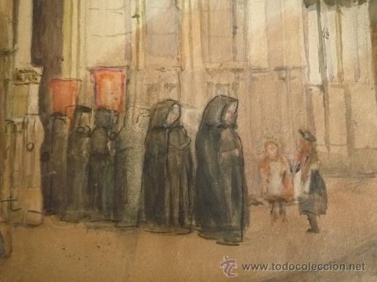 Arte: Magistral acuarela impresionista, escuela francesa, siglo XIX c.1870, firmada, CAUDEBEC, FRANCE - Foto 5 - 30711347