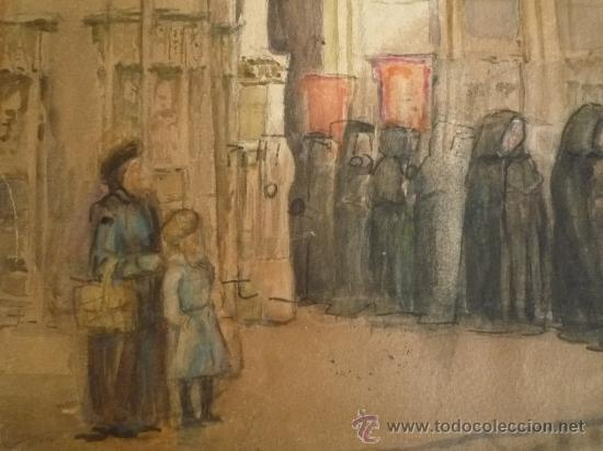 Arte: Magistral acuarela impresionista, escuela francesa, siglo XIX c.1870, firmada, CAUDEBEC, FRANCE - Foto 7 - 30711347
