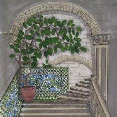 Arte: ESTHER CASTELLS - TÉCNICA MIXTA SOBRE PAPEL - 42 X 30 CM - ESCALERA.. Lote 30732010