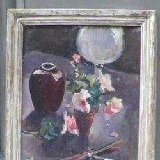 Arte: JOSEP PUIGDENGOLAS (1906-1987). PINZELLS I FLORS, AÑO 1932. MARCO: 60X78 CM. TELA: 47X64CM. Lote 30784265