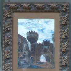 Arte: CASTILLO, ACUARELA FIRMADA: G. NOVELLI, MARCO: 48X82 CM. ACUARELA: 27X36 CM. 1900'S.. Lote 30784345