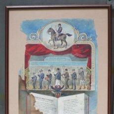 Arte: CORO DE LOS AMOS COCHEROS,BARCELONA AÑO 1910. DIBUJO ACUARELA, MARCO: 48X60 CM.. Lote 31873502