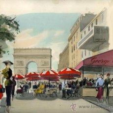 Arte: DIBUJO ORIGINAL ACUARELA, CALLE DE PARIS , FIRMADO ARMANDO 54, 32,5X 25 CM. Lote 32072694