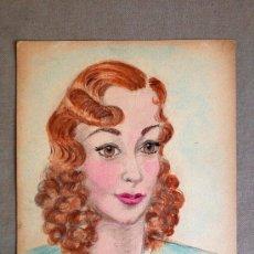 Art: INTERESANTE RETRATO DE UNA JOVEN, AÑOS 30, ART DECO, FIRMADO. Lote 32079580